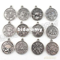Wholesale 72pcs Round Charms New Assorted Constellation Signs of Zodiac Vintage Silvery Pendant Fit Jewelery and Necklace