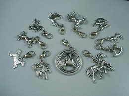 Wholesale MIC Tibetan Silver Alloy Mix Horse Charm Pendant And Lobster Claw Clasp b107