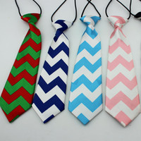 Wholesale children accessories green tie Chevron ties for kids boys Girls christmas tie boy necktie