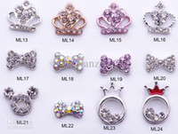 Nail Art 3D Decoration Nail Art Rhinestones 3D Molds Nail Dangles Nail Art Rhineston Wholesale - Mini manicure Alloy Dangle Jewelry DIY Rhinestone Glitters Slices 3D nail art manicure 400+ designs bow
