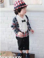 Boy Spring / Autumn  Wholesale - Spring Autumn Wear Babies Long Sleeve Romper Casual Gentleman Bow Tie Grid Toddler Boys Romper Baby One Piece Clothing Jumpsuit