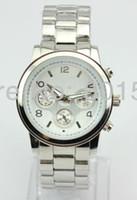 Luxury Unisex Chronograph New 5color cheap metal geneva wrist watch for men women,without logo,metal band case,chinese quartz movement
