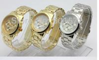Luxury Unisex Chronograph Freeshipping 1pcs lot 5color cheap metal geneva wrist watch for men women,without logo,metal band case,chinese quartz movement