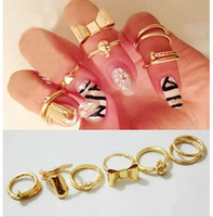 Cluster Rings Fashion  Women's Gold Skull Bowknot Heart Nail Simple Band Midi Mid Finger Top Stacking Ring for women 7pcs=1set 12set lot