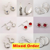 Wholesale 18pairs Fashion Mixed order Sterling Silver Plated Earrings ER170