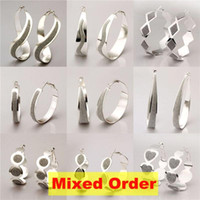 Wholesale Mixed Order Modern Style Sterling Silver Plated Hoop Earrings ER169