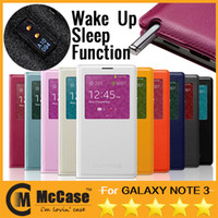 Wholesale 1 Official S View Flip Cover Case For Samsung Galaxy Note N9000 Note3 With Senor Chip Dormancy Function Automatic Wake up Sleep Funtion