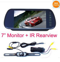 "Monitor TV Roof Free Shipping!!HD 7"" LCD Monitor Mirror MP5 Player + IR Reverse Car Rear View Backup Camera Kit"