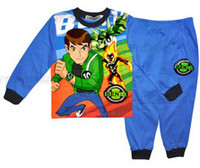 Wholesale Children s two piece pajamas sports wear set cartoon sweater home wear cotton spider man super hero ben10 code no ptll22