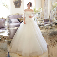 Wholesale Luxury style autumn and winter Korean Princess Qi wedding word shoulder neck long sleeved wedding dress new