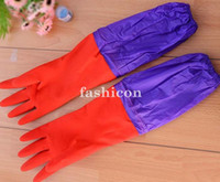 Wholesale 5 pair Long Thermal Cashmere Household Cleaning Gloves Rubber Latex Kitchen Dishwashing Golves