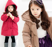 plain clothing - 2013 Winter New Children s Clothing Baby Girls Thick Red Brown Plush Warmest Outwears Solid Plain Trench Coats B2165