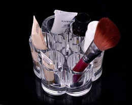 Wholesale US Stock Clear Acrylic Flower Cosmetic Makeup Brush Holder Organizer makeup organizer SF
