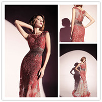 Wholesale 2014 Latest Dany Tabet Mermaid Pageant Dresses Evening Dresses Sleeveless Red White Lace Applqiues Floor Length Evening Gown E11130
