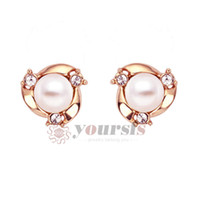 Wholesale christmas jewelry gift austrian crystal K Rose Gold Plated Use Flower Pearl Earrings E406R1