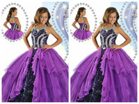 Wholesale cheap cool design little girls purple sleeveless ball gown sequin shining flower girl pageant wedding prom dress