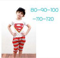 factory clothes - Factory Clear Stock Best Quality Summer Children Clothing Set Superman Tshirt Stripe Harem Pants Boys Causal Set Baby Kids Suit QZ273