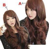 Light Brown sexy wig - S5Q New Sexy Fashion Womens Girls Wavy Curly Long Hair Human Full Wigs With Bang AAABOM