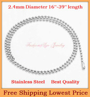 "Cheap Silver Tone Stainless Steel Dog Tag Chains,2.4mm Ball Bead Chain Ball Chains for Necklaces Keychains 16"" to 39"" Wholesale 10pcs"