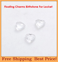 Wholesale mm heart clear white plexiglass crystal origami owl birthday stones floating charms for glass lockets FC3048