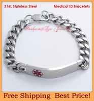 Wholesale Hot sale l stainless steel medical id bracelets medical jewelry fashion medical bracelets