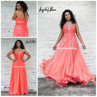 Wholesale Top designer Hot sale Halter A line Full length chiffon Beads Crystal Long backless Plus size Formal evening dress party gowns Prom dress