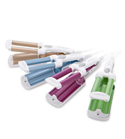Wholesale professional green pink blue gold ceramic tourmaline ionic triple barrel mm hair curling iron European plug