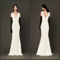 Wholesale 2014 New Arrival Low Cut V neck Bridal Gown Satin Spring Summer Garden Vintage Slim Cheap Mermaid Trumpet Wedding Dresses Free Gift Gloves