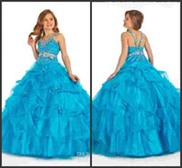 Real Photos bead necklace buy - Cute Little Girls Glitz Pageant Dresses Flower Beaded Organza pageant dress Bowknot Buy a dress with a necklaces