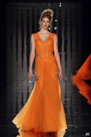 Wholesale Custom made orange dress with V neck evening dresses fitted lace flower sequins sheer tulle A Line party dresses