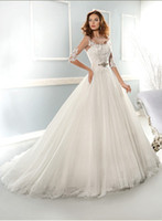 A-Line Reference Images Jewel 2014 SEXY Dhgate Full A-Line Beaded JEWEL Neck Lace Appliue V Back 3 4 Long Sleeve Removed Train Tulle Skirt Style 7653 Wedding Dresses