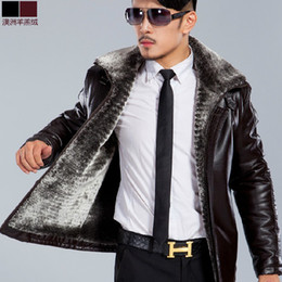 Wholesale 2013 winter mens genuine leather coat sheepskin wool coats for men berber fleece liner turn down collar outerwear