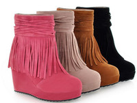 Wholesale 2013 fashion winter boots ankle boots waterproof wedges tassel boots DH019