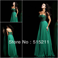 Elegant Beading Sweetheart Backless Emerald Green Chiffon Lo...