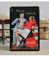 metal wall decor - 20 cm Pause Refresh Coke Tin Sign Arts Wall Bar Decor Home Plaques Metal Painting Plate