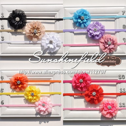 Chiffon Flowers Headband with Mini Satin Ribbon Flower Center Nylon Elastic Hair Band 30pcs lot QueenBaby