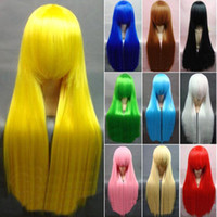 Wholesale salebags New Girl s Fashion Long Cosplay Wigs Qi Liu cm inch NA47 Thirteen Colors