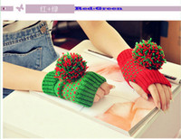 Wholesale han edition cute fashion asymmetric wool warm knit gloves Plush ball fingerless gloves contrast color mandarin duck gloves