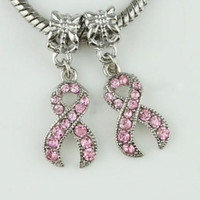 Charms European Beads Ribbon 50pcs lot Pink Rhinestone Crystal Ribbon Breast Cancer Awareness 18K Plated Charms Big Hole Beads For Jewelry European Bracelets 010383