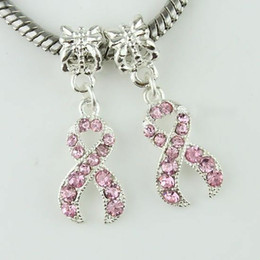 Wholesale 50pcs Pink Rhinestone Crystal Ribbon Breast Cancer Awareness Silver Plated Charms Big Hole Beads For Jewelry European Bracelets