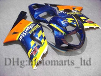 Wholesale GSXR600 GSXR750 GSX R600 Telefonica yellow blue Kit Fairing for Suzuki GSXR750 GSX R K1 moto