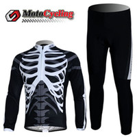 Wholesale NW Bike Specific Clothing Flexible Materials Cycling Jersey Sets Black with Bone Pattern Long Sleeve Bike Clothes Best Price Cycling Jerseys