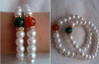 Wholesale Sweet women pearl agate rhinestone bracelet beaded strands agates diamond wristband bracelets charm jewelry Christmas jessie06