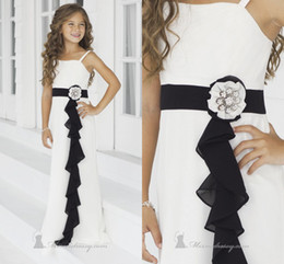 Wholesale 2014 High Quality Ivory Black Junior Bridesmaid Dresses Spaghetti Strap A Line Floor Length Ruffled Bella Chiffon Gown by Alexia Juniors