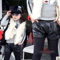 Wholesale 2013 Fashion Girls Joker Leather Shorts Children Clothing Pants Kids Clothes WInter Beaded Outwear Trousers Child Garment Black D1171