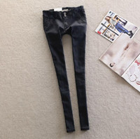 Wholesale New winter fishbone blue black solid false inclined pocket carry buttock low rise skinny jeans and feet