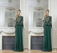 Reference Images Jewel/Bateau Chiffon 2014 Zuhair Murad Long Sleeve See-Through Evening Dresses Sheath Bateau Dark Green Lace Appliques Chiffon Peplum Prom Gown Formal Dress