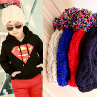 Wholesale 2013 Korean version of the trend of children wearing hats Sphere simple solid color wool hat for boys and girls