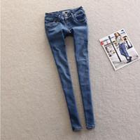Wholesale 2014Autumn outfit new euro authentic waist wide double buckle design joker blue low rise jeans feetjeans