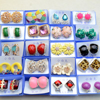 Wholesale Fshion Colorful exquisite diamond stud earrings multi styles jewelry randomly delivery hot sale
